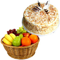 Order Bhaidooj Gifts to Mumbai be Composed of 1 Kg Fresh Fruits Online Mumbai in Basket with 500 gm Butter Scotch Cakes