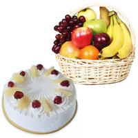Deliver Bhaidooj Gifts to Nanded with 1 Kg Fresh Fruits Basket and 500 gm Pineapple Cakes to Mumbai Online