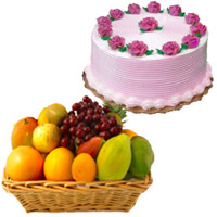 Select Best Bhaidooj Gifts to Mumbai consisting 1 Kg Fresh Fruits Basket with 500 gm Strawberry Cake