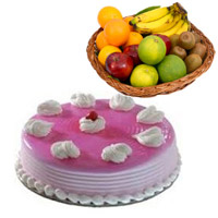 Order for Bhaidooj Gifts and 1 Kg Fresh Fruits Basket with 1 Kg Strawberry Cakes in Mumbai
