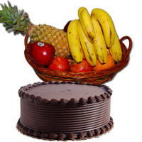Send 2 Kg Fresh Fruits Basket with 1 Kg Chocolate Cake in Mumbai on Friendship Day