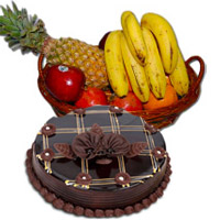 Place Order to Send 1 Kg Fresh Fruits Basket with 1 Kg Chocolate Truffle Cake and Bhaidooj Gifts in Mumbai