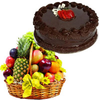 Send Friendship Day Gifts Online 3 Kg Fresh Fruit Basket with 1 Kg Chocolate Cake to Mumbai