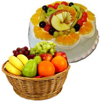 Online Bhaidooj Gifts Delivery in Mumbai of 1 Kg Fresh Fruits Basket with 500 gm Fruit Cake in Mumbai