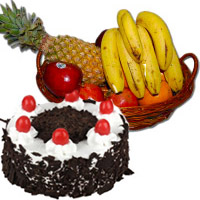 Get 1 Kg Fresh Fruits Basket with 500 gm Black Forest Cake in Mumbai and Bhaidooj Gifts to Mumbai