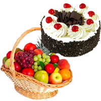 Online Gifts Delivery of 2 Kg Fresh Fruits with 1 Kg Black Forest Cake in Mumbai on Friendship Day
