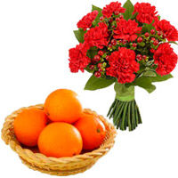 Send Bhaidooj Gifts to Mumbai including 12 Red Carnations Bunch with 12 pcs Fresh Orange