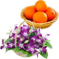 Order Special friend Gifts that include Purple Orchids Basket 15 Flower Stems with 12 pcs Fresh Orange in Mumbai