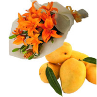 Send Bhaidooj Gifts in Mumbai contains Orange Lily Bouquet 4 Flower Stems and 12 pcs Fresh Mango