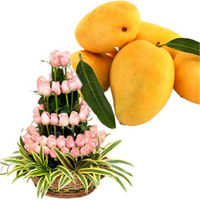Send Friendship Day Gift of Pink Flowers Basket 50 Flowers in Mumbai with 12 pcs Fresh Mango Fruit