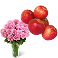 Deliver Bhaidooj Gifts to Mumbai consist of 20 Pink Roses in Vase with 1 Kg Fresh Apple