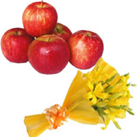 Send Online Bhaidooj Gifts to Mumbai including of Yellow Lily Bouquet 3 Flower Stems with 1 Kg Fresh Apple