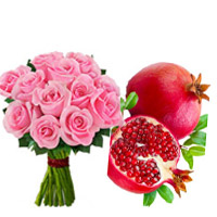 Get Bhaidooj Gifts in Mumbai be made up of Pink Roses Bouquet 12 Flowers with 1 Kg Promegranate