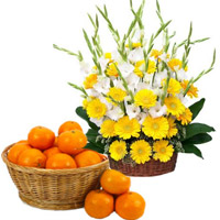 Order Yellow Gerbera White Glad Basket 30 Flowers with 18 pcs Orange Basket in Mumbai, Friendship Gifts for Her