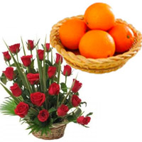 Send Bhaidooj Gifts to Mumbai contain 20 Fresh Red Roses Basket with 12 pcs Orange