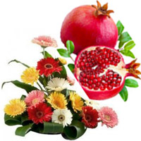 Send Bhaidooj Gifts to Mumbai take in Mixed Gerbera Basket of 15 Flowers in Mumbai with 1 Kg Fresh Promegranate