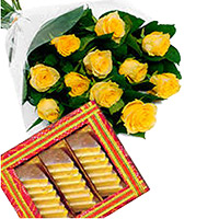 Send Friendship Gifts of 1 kg Kaju Katli with 12 Yellow Roses