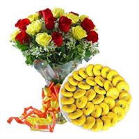 Online Best Gift for Friendship Day that include of 1 kg Mava Peda with 12 Mix Roses Bouquet in Mumbai