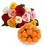 Send Friendship Day Gifts Online 1 kg MotiChoor Laddoo with 12 Mix Roses Bouquet to Mumbai