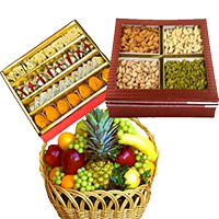 Order Gifts for Friendship Day, Basket of 3 Kg Fresh Fruits with 0.5 kg Mixed Dryfruits and 1 kg Assorted Sweets to Mumbai