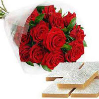 Send Friendship Day Gifts, 12 Red Roses and 250 gm Kaju Burfi and gifts in Mumbai