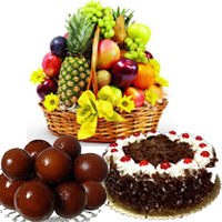 Send Special friend Gifts 1 Kg Fresh Fruits,1 Kg Gulab jamun & 1 Kg Round Black Forest Cake in Mumbai for Friendship Day