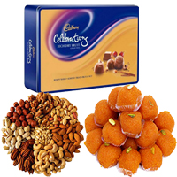 Deliver Friendship Day gifts Online 1 Kg Motichoor Ladoo and 1 Kg Dry Fruits to Mumbai with 1 Celebration pack