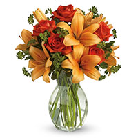 Best Valentine's Day Flower Delivery in Mumbai : Orange Lily Red Roses