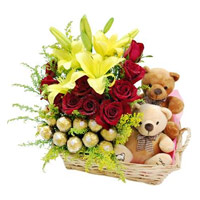Send 2 Lily 12 Roses 16 Ferrero Rocher Twin Small Teddy Basket to Mumbai