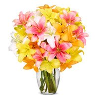 Flower to Colaba Mumbai. Send Mix Lily in Vase 10 Stems