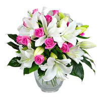 Deliver New FLowers in Mumbai including 5 White Lily 10 Pink Rose Vase Flowers Mumbai