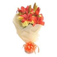 Online Lily Carnation Flowers to Mumbai