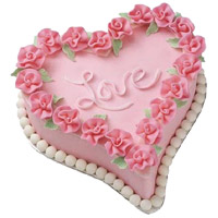 1.5 Kg Love Heart Shape Strawberry Cake Delivery in Mumbai