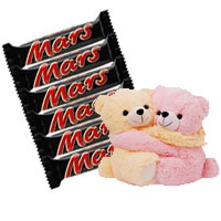 Deliver Chocolates and Gifts in Mumbai containing 6 Mars Chocolates with Hugging Teddy