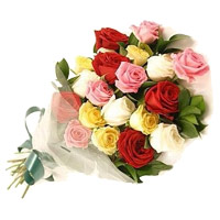 Send Anniversary Flowers to Mumbai Barc. Send Mixed Roses Bouquet 20 Flowers to Mumbai