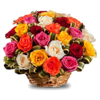 Christmas Flowers in Mumbai that includes Mixed Roses Basket 30 Flowers to Mumbai