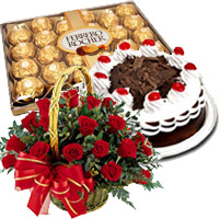 Send 24 Red Roses Basket with 0.5 Kg Black Forest Cake and 24 pcs Ferrero Rocher Chocolate to Mumbai