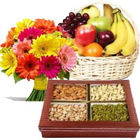 Send 12 Mix Gerberas, 3 Kg Fresh Fruit Basket, 0.5 Kg Mixed Dry Fruits to Mumbai