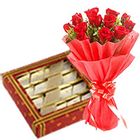 Send 0.5 Kg Kaju Barfi with Bunch of 12 Red Roses in Mumbai