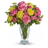 Flowers to Mumbai: Pink and Yellow Roses