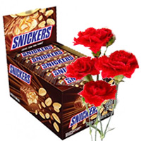 Purchase Diwali Gifts to Mumbai. 6 Carnations and 32 pcs Snickers and Box of Chocolates in Mumbai