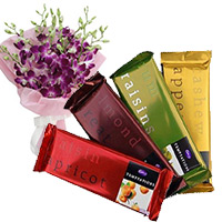 Diwali Gifts to Mumbai. 4 Cadbury Temptation Bars Chocolate with 3 Orchid Stem