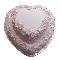 Send 3 Kg Two Tier Heart Shape Strawberry Cake to Mumbai Same Day Delivery