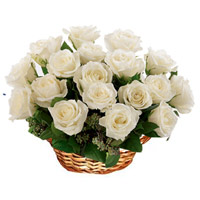 Send White Roses Basket 18 Flowers in Mumbai along with New Year Flowers in Mumbai