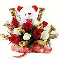 Send 36 Red White Roses 16 Pcs Ferrero Rocher Bouquet Mumbai