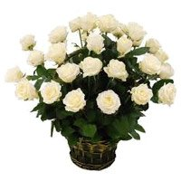 Deliver Flowers to Mumbai : 24 White Roses Basket