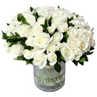 Flowers to Mumbai : 50 White Roses Vase