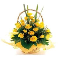 Send Flowers in Barc Mumbai.Yellow Roses Basket 30 Flowers