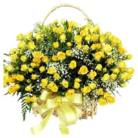 Flower Delivery Mumbai : 100 Yellow Roses Basket