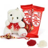 Send Chocolate and Rakhi to Mumbai including 6 inch teddy with two Kit Kat chocolates and 1 Rakhi